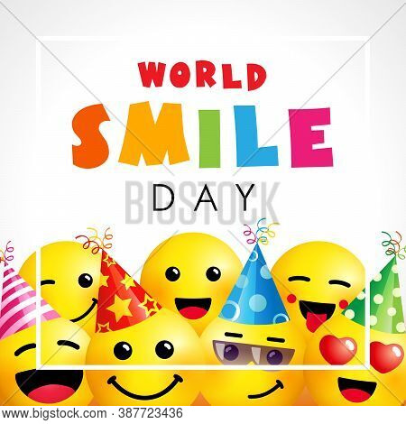 World Smile Day With Emoji Icons. Happy Smiling Icon And Colored Text For Smile Day, October 2. Vect