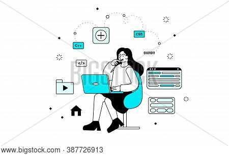 A Young Girl Creating Websites On Her Laptop Sorrounded With Different Programming Icons And Simbol.