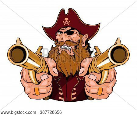 Bearded Evil Pirate. Revolver Pirate. Captain Logo. Pirate Eye. Buccaneer Hat. Vintage Sailor Charac