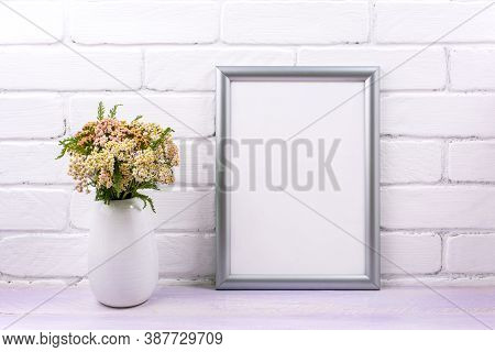 Silver Frame Mockup With Pink Yarrow Wildflowers In The Vase. Empty Frame Mock Up For Presentation A