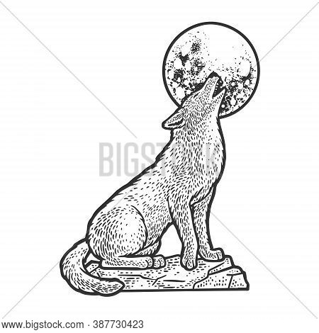 Wolf Howling At The Moon Sketch Engraving Vector Illustration. T-shirt Apparel Print Design. Scratch
