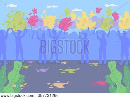 Crowd On Holi Party Flat Color Vector Illustration. Traditional Indian Holiday Celebration. Hindu Fe
