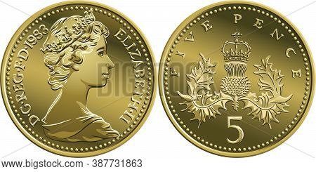 British Money Silver Coin Five Pee Or Five Pence, Obverse And Reverse With Badge Of Scotland, Thistl