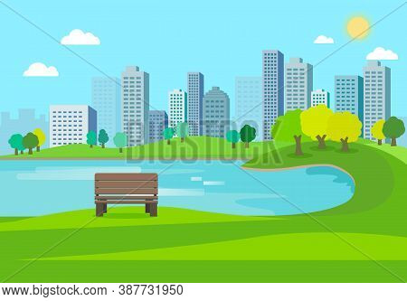 Public Park Nature Landscape With City Background.nature Scene With Bench In City.lake In Town.urban