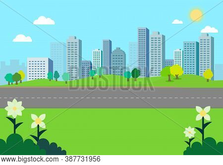 Nature Park Landscape With City Background.natural Scene With Pathway.road With Building And Sky Bac