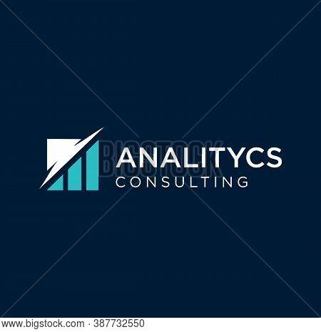 Business Finance Logo Design With Chart Analysis Icon. Data Analytics Logo Business Design Template