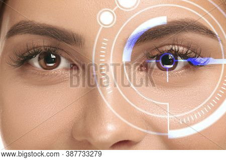 Close Up. Future Woman With Cyber Technology Eye Panel, Cyberspace Interface, Ophthalmology Concept.