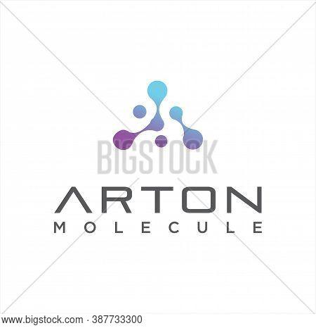 Letter A Molecule Logo Vector Stock. Alphabet A Logo Molecular Connection. Science Innovation Logoty