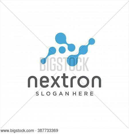 Letter N Molecule Logo Vector Stock. Alphabet N Logo Molecular Connection. Science Innovation Logoty