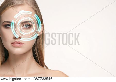 Future Woman With Cyber Technology Eye Panel, Cyberspace Interface, Ophthalmology Concept. Beautiful