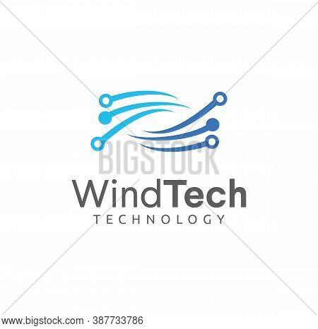 Wind Logo Design Tech Digital Vector Stock. Air Tech Logo Circuit Icon. Rotation Tech Logo Design Co