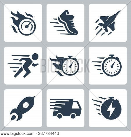 Fast Speed And Quickness Related Vector Icon Set