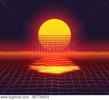 Retro 80s Futuristic Sunset Design. Grid Water Surface Bright Sun Over Horizon And Its Reflection