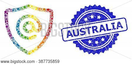 Bright Colorful Vector Email Address Protection Mosaic For Lgbt, And Australia Rubber Rosette Seal P