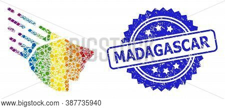 Bright Colorful Vector Falling Rock Stone Mosaic For Lgbt, And Madagascar Scratched Rosette Seal Pri