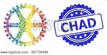 Spectrum Colored Vector Clock Gearwheel Mosaic For Lgbt, And Chad Rubber Rosette Stamp Seal. Blue St