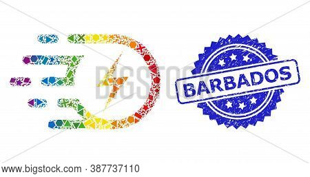 Rainbow Colored Vector Electric Strike Mosaic For Lgbt, And Barbados Dirty Rosette Stamp Seal. Blue