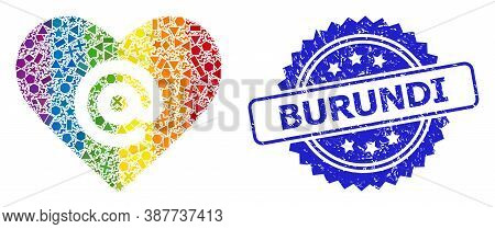 Rainbow Vibrant Vector Dating Heart Address Collage For Lgbt, And Burundi Grunge Rosette Stamp Seal.