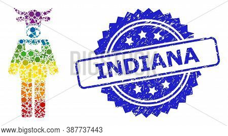 Rainbow Vibrant Vector Bull Gentleman Mosaic For Lgbt, And Indiana Unclean Rosette Seal. Blue Stamp