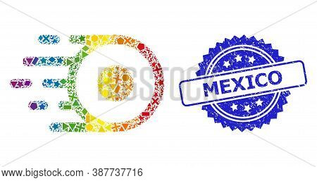 Rainbow Vibrant Vector Core Flight Collage For Lgbt, And Mexico Scratched Rosette Stamp. Blue Stamp