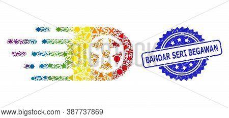 Rainbow Vibrant Vector Bolide Wheel Collage For Lgbt, And Bandar Seri Begawan Dirty Rosette Watermar