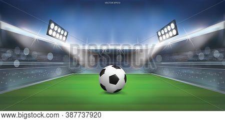 Soccer Football Ball On Green Grass Of Soccer Field Stadium Background. Vector.