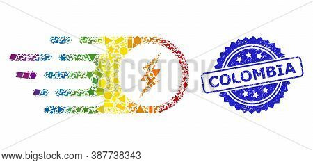 Rainbow Colored Vector Electric Spark Collage For Lgbt, And Colombia Textured Rosette Seal Imitation