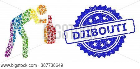 Bright Vibrant Vector Drunky Man Mosaic For Lgbt, And Djibouti Rubber Rosette Stamp Seal. Blue Stamp