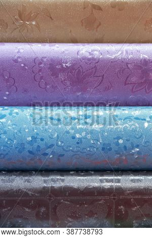 Background With Many Different Tablecloths Of Oilcloth Tablecloths In Rolls A Presentation To Choose