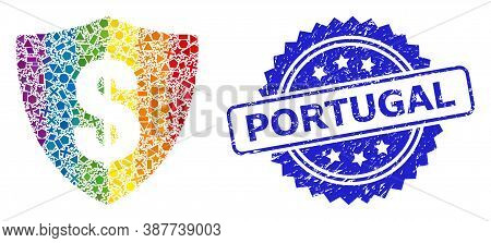 Bright Colored Vector Dollar Shield Collage For Lgbt, And Portugal Corroded Rosette Stamp Seal. Blue