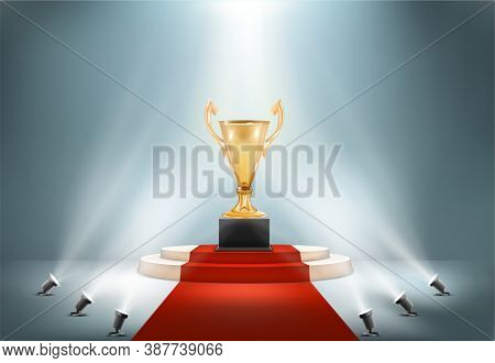 Golden Award Cup On Pedestal With Spotlights Light Vector Illustration
