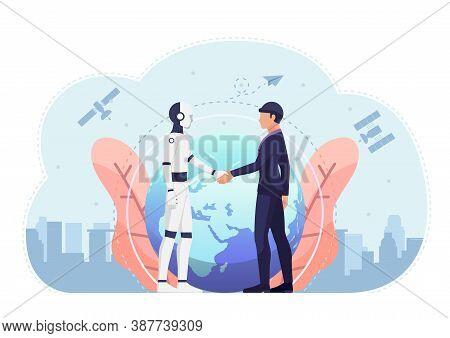 Businessman And Ai Robot Shaking Hand Of Against The World And Satellite In Background. Business Tec