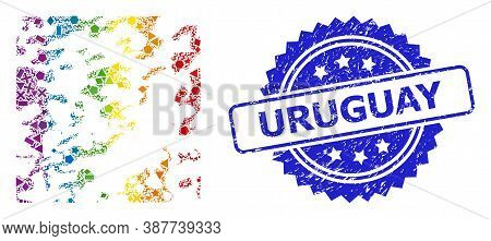 Spectrum Vibrant Vector Destructed Mosaic For Lgbt, And Uruguay Textured Rosette Stamp Seal. Blue St