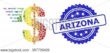 Spectrum Colorful Vector American Dollar Collage For Lgbt, And Arizona Unclean Rosette Stamp Seal. B