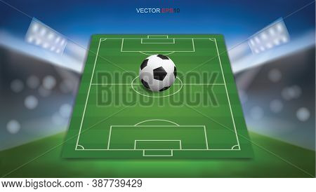 Football Field Or Soccer Field Background With Football Ball. Green Grass Court For Create Soccer Ga