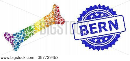 Spectrum Vibrant Vector Bone Collage For Lgbt, And Bern Textured Rosette Seal Print. Blue Stamp Seal