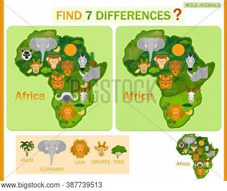 Find The Difference On The Map Of Africa. Child Game. Wild Animals.