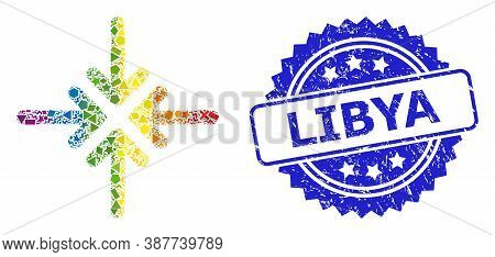 Spectrum Colored Vector Collapse Arrows Mosaic For Lgbt, And Libya Dirty Rosette Seal Imitation. Blu
