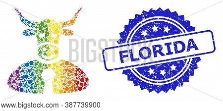 Rainbow Colored Vector Bull Boss Mosaic For Lgbt, And Florida Rubber Rosette Seal. Blue Stamp Seal I