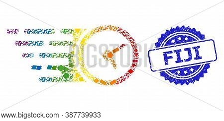 Rainbow Colored Vector Clock Collage For Lgbt, And Fiji Textured Rosette Stamp Seal. Blue Stamp Seal