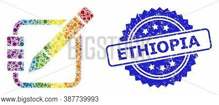 Rainbow Colored Vector Edit Records Collage For Lgbt, And Ethiopia Rubber Rosette Stamp Seal. Blue S
