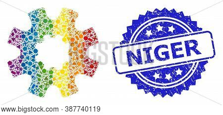 Spectrum Colored Vector Cog Gear Mosaic For Lgbt, And Niger Grunge Rosette Stamp. Blue Stamp Contain