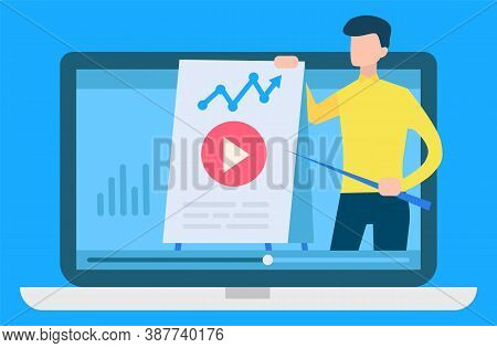 Online Courses Vector, Isolated Computer With Tutor Showing Data And Analysis Of Information. Materi