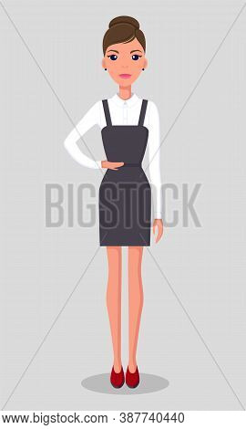 Beautiful Young Slender Businesswoman Stands In Strict Black Dress And White Classic Blouse, Red Sho