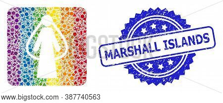 Rainbow Colored Vector Bride Mosaic For Lgbt, And Marshall Islands Textured Rosette Stamp. Blue Stam