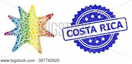 Bright Colored Vector Exploding Boom Collage For Lgbt, And Costa Rica Unclean Rosette Seal Imitation