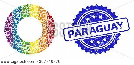 Spectrum Vibrant Vector Donut Collage For Lgbt, And Paraguay Rubber Rosette Stamp Seal. Blue Stamp S