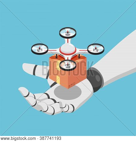 Flat 3d Isometric Ai Artificial Intelligence Robot Hand Holding Quadcopter Or Drone With A Package.