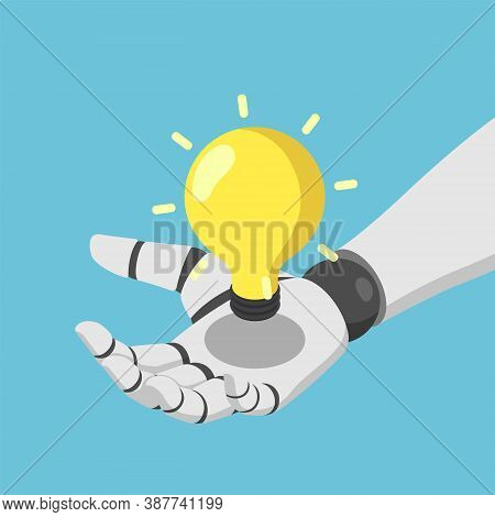 Flat 3d Isometric Ai Artificial Intelligence Robot Hand Holding Shining Lightbulb.  Ai Artificial In