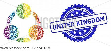 Rainbow Colorful Vector Cooperation Collage For Lgbt, And United Kingdom Rubber Rosette Stamp Seal.